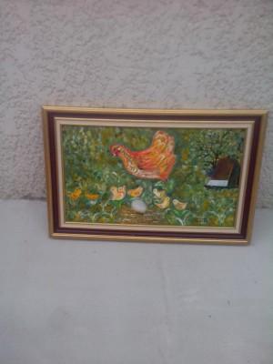 Peinture d'une poule et de poussins